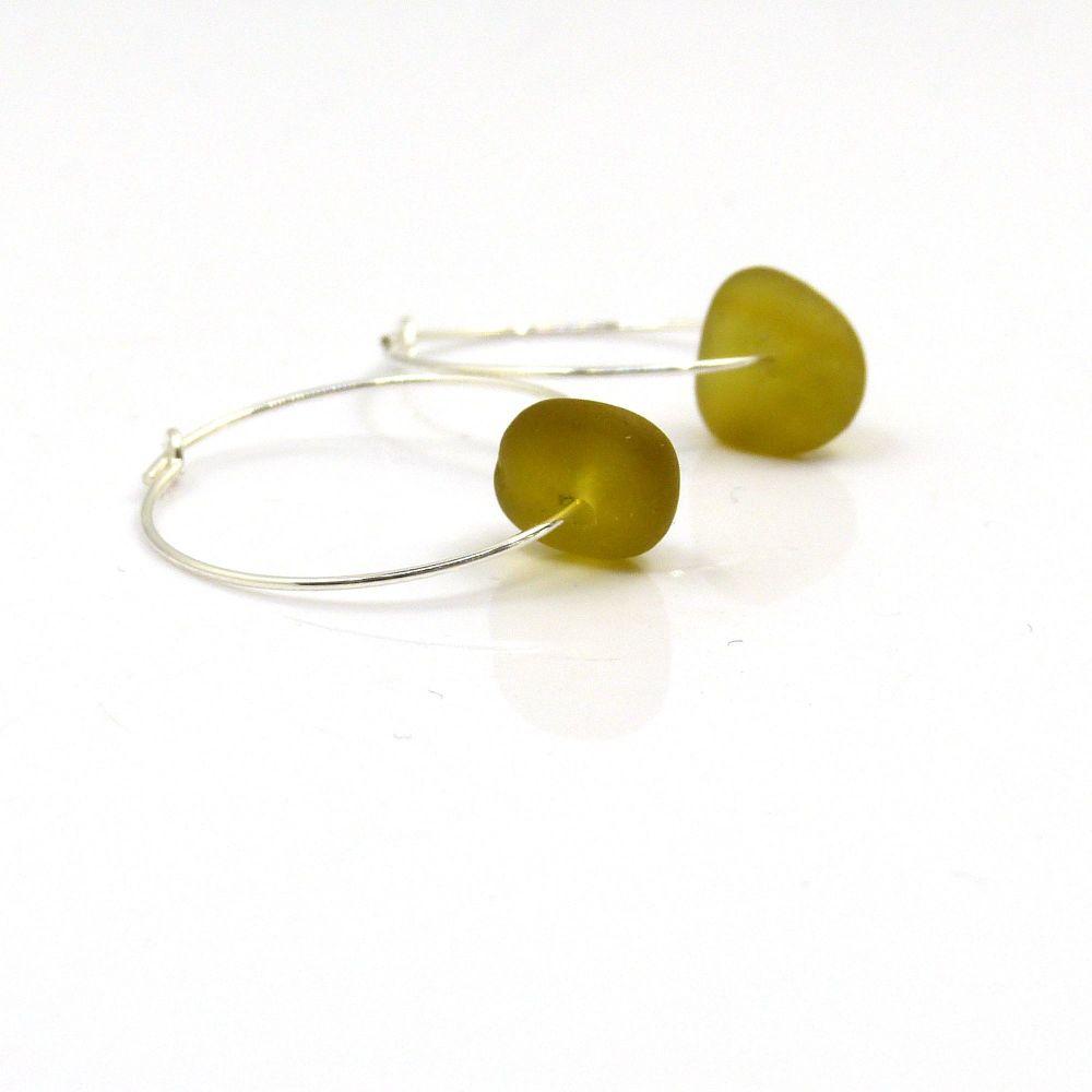 Deep Peridot Sea Glass and Sterling Silver Hoop Earrings