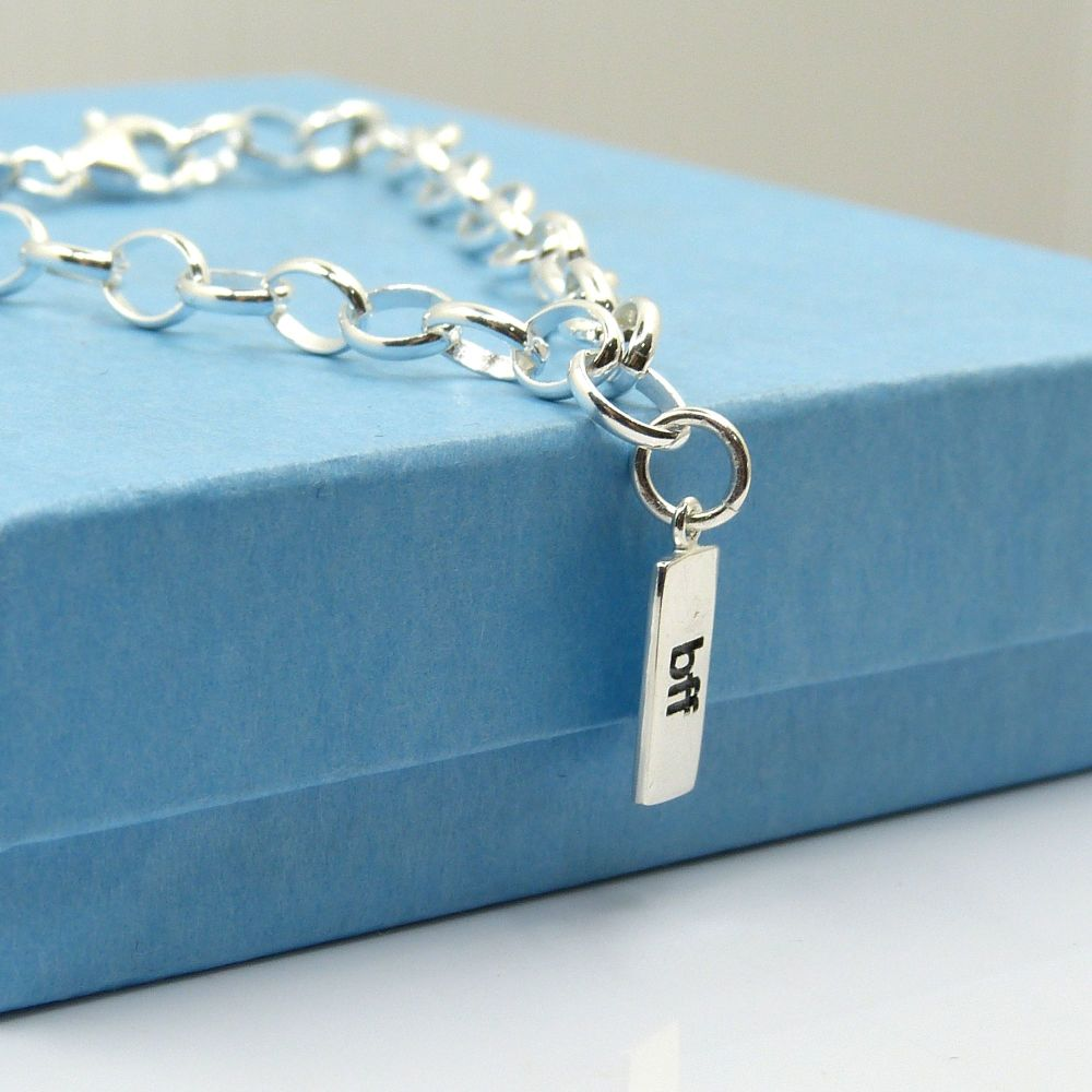 Sterling Silver Bracelet with Silver BFF Charm