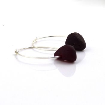 Seaham Deep Red Sea Glass and Sterling Silver Hoop Earrings