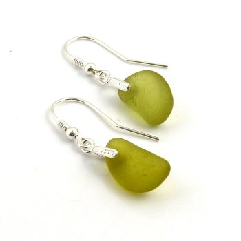 Yellow Green Seaham Sea Glass Drop Earrings