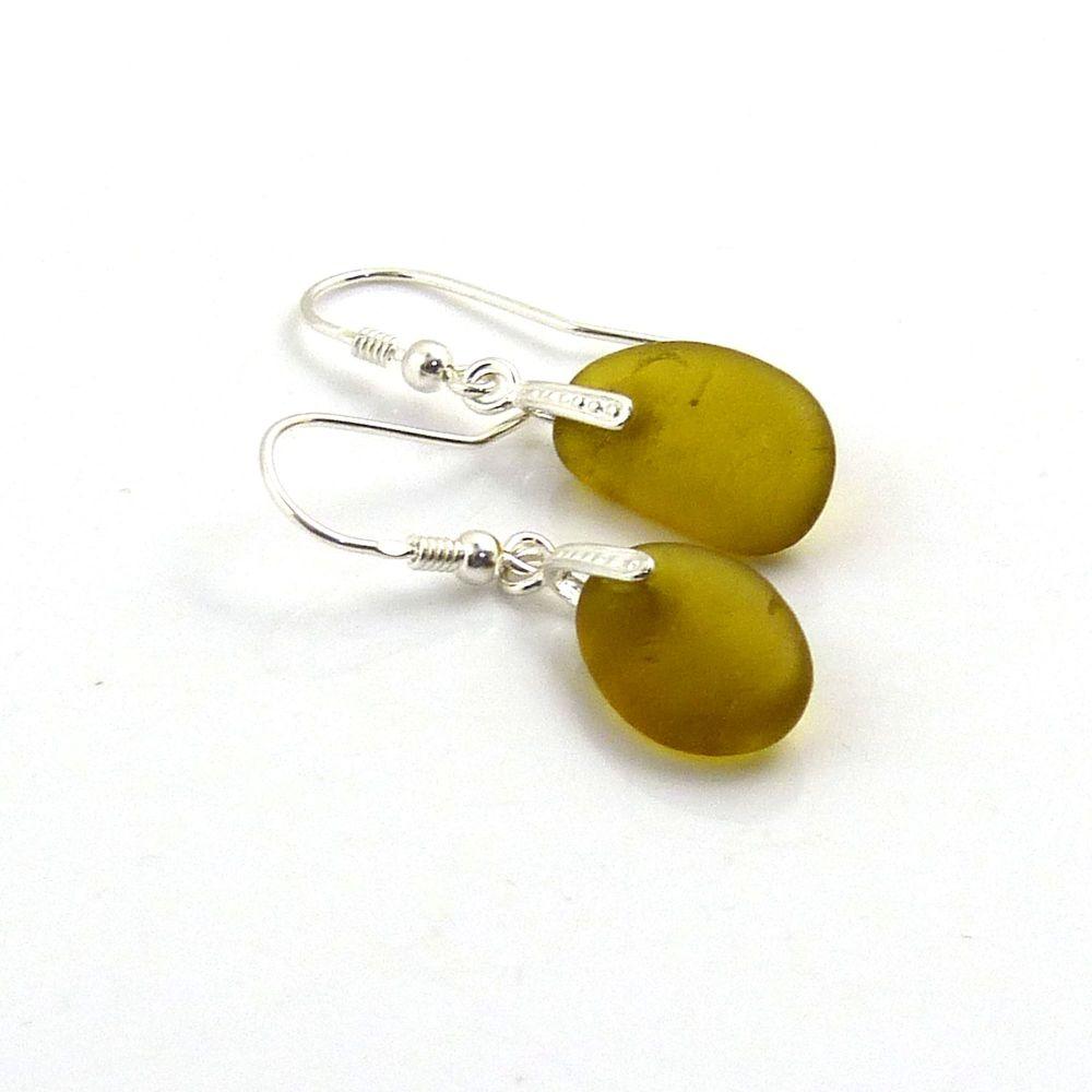 Seaham Amber Sea Glass Sterling Silver Drop Earrings