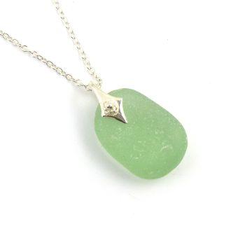 Apple Green Sea Glass Necklace STARLA