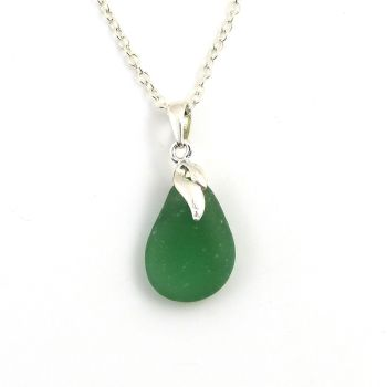 Seaham Blue Green Sea Glass Pendant Necklace CHERELL