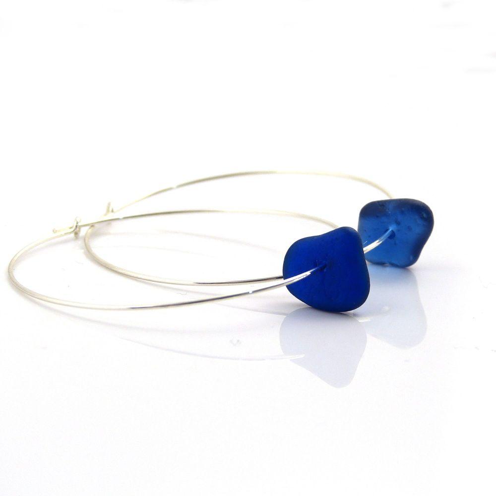 Cobalt Blue Sea Glass and Sterling Silver Hoop Earrings - Seaham Beach Sea