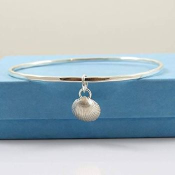 Sterling Silver Hammered Bangle with Tiny Cockle Shell Charm