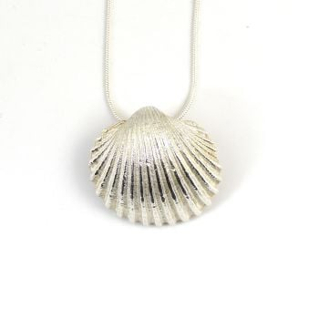 Sterling Silver Cockle Shell Floating Pendant Necklace - Large Cockle Shell