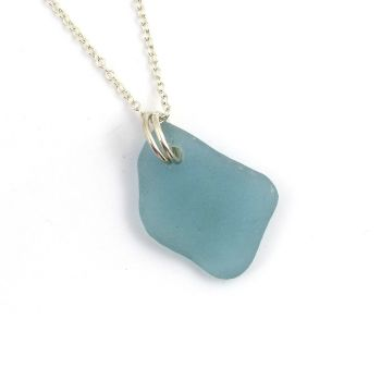 Ocean Blue Sea Glass Sterling Silver Necklace