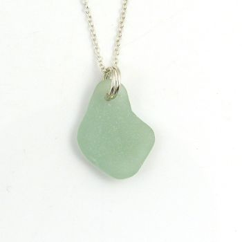Seafoam Sea Glass Sterling Silver Necklace