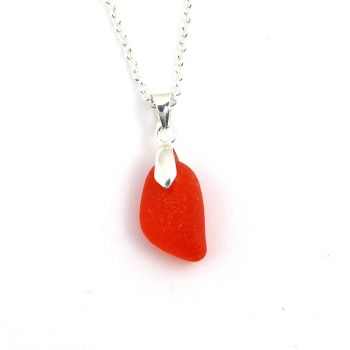 Tiny Seaham Red Sea Glass Necklace POPPY