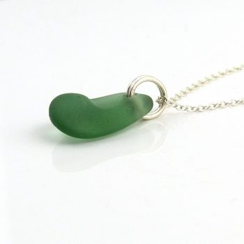 Deep Julep Sea Glass and Sterling Silver Necklace