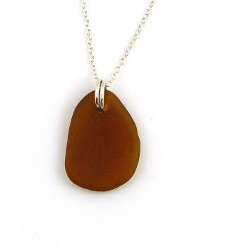 Deep Amber Sea Glass and Sterling Silver Necklace