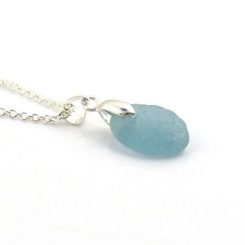 Seaham Steel Blue Sea Glass and Silver Necklace