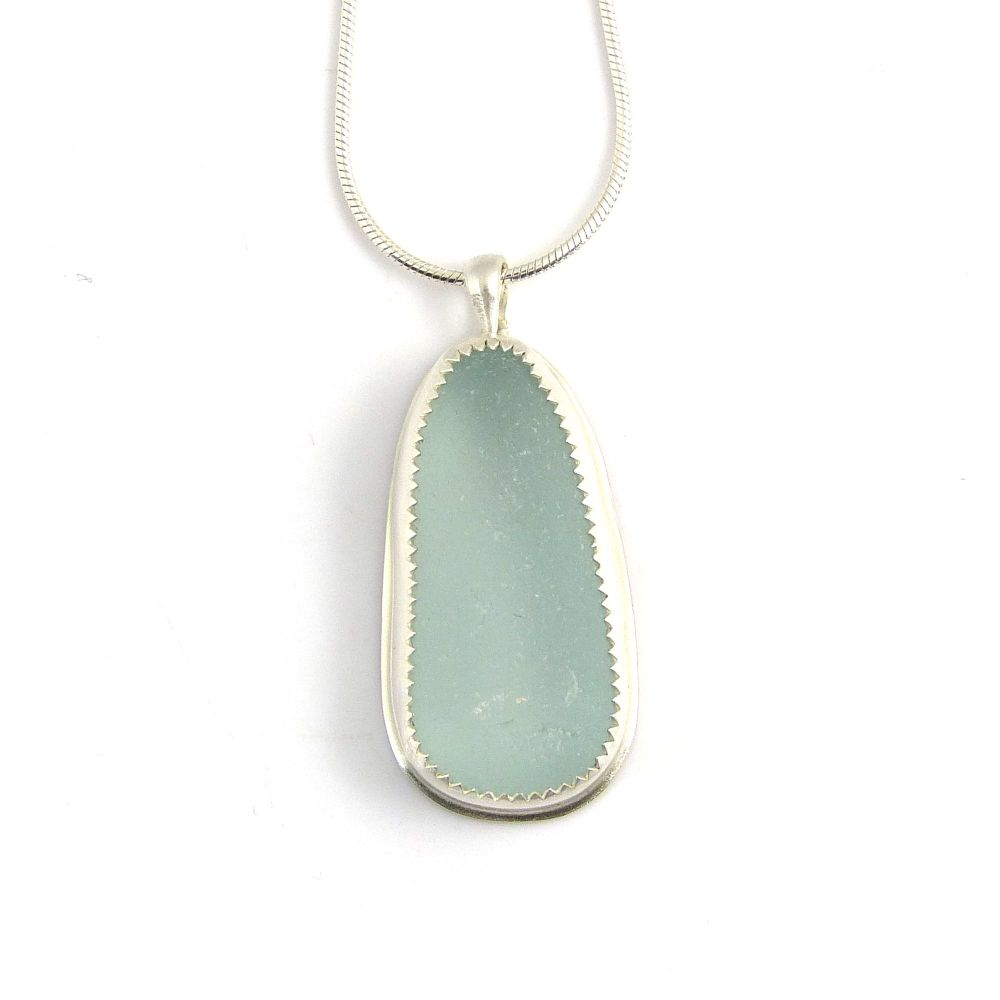 Pale Blue Bezel Set Sea Glass Pendant Necklace EMMA