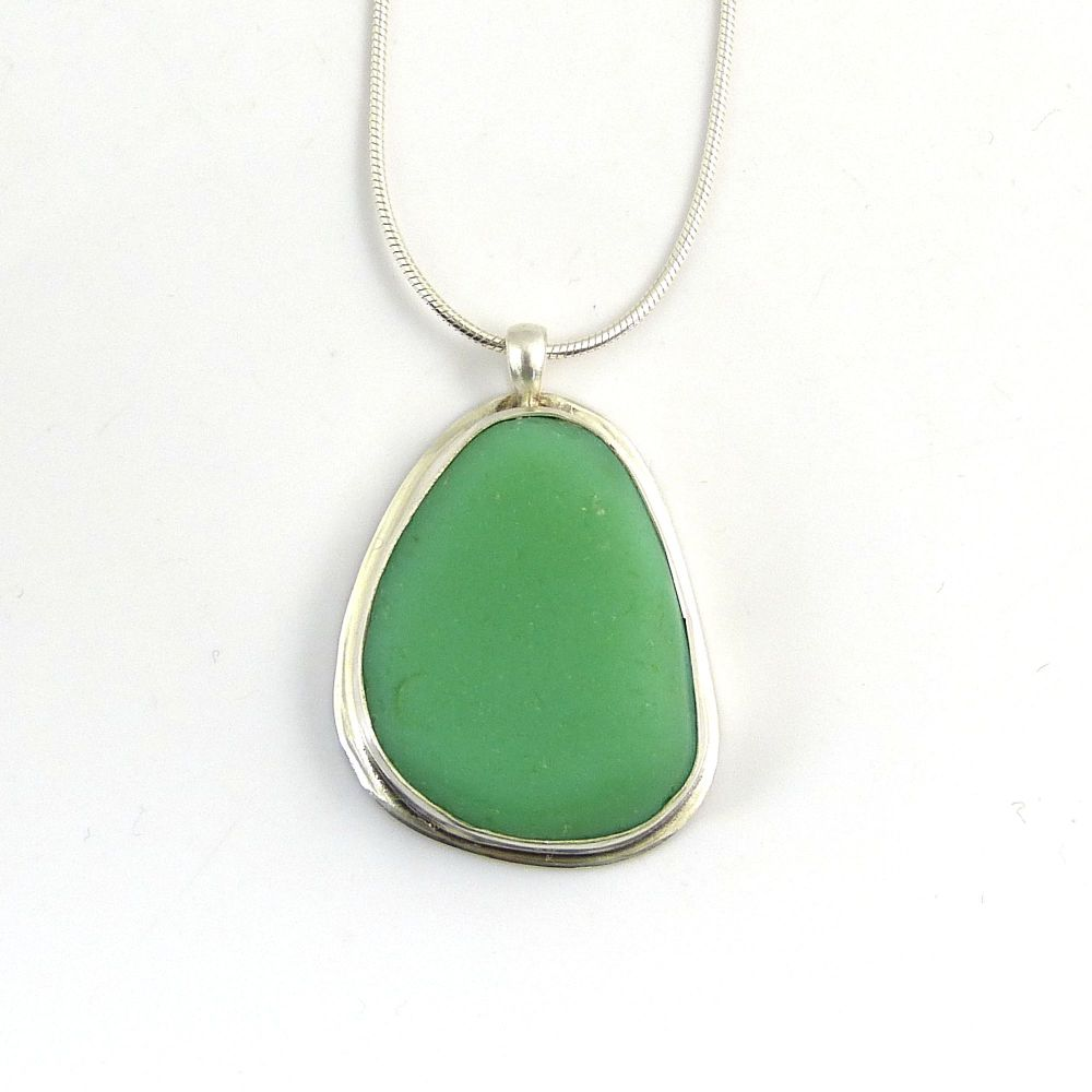 Pastel Green Milk Glass Pendant Necklace ODETTE