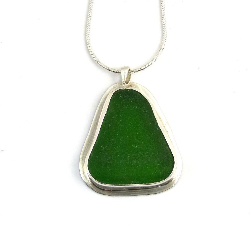 Kelly Green Bezel Set Sea Glass Pendant Necklace LUCIE