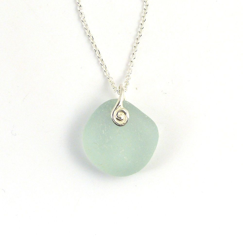 Pale Blue  Sea Glass Necklace GIA
