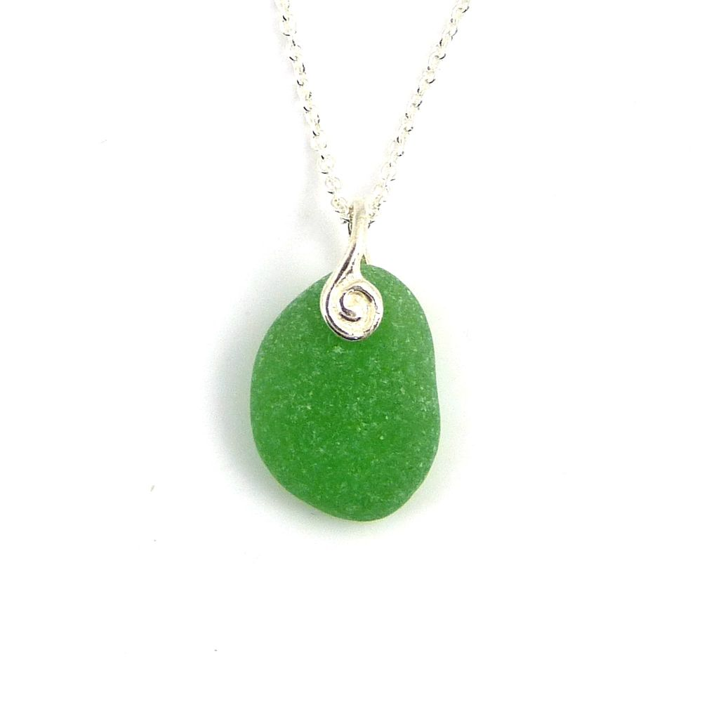 Emerald Green  Sea Glass Necklace JAYLA