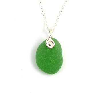 Emerald Green  Sea Glass Necklace JAYLA
