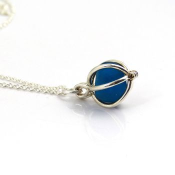 Cobalt Blue Sea Glass in Tiny Round Locket Necklace