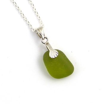 Tiny Deep Lime Sea Glass and Silver Necklace