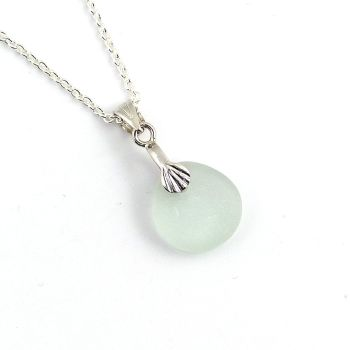 Pale Blue Sea Glass and Silver Necklace