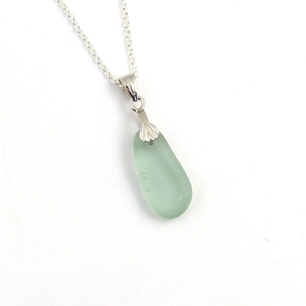 Pale Steel Blue Sea Glass and Silver Necklace