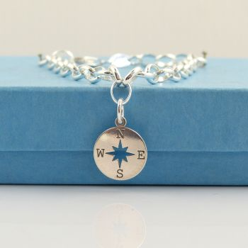 Sterling Silver Bracelet with SilverCompass Charm