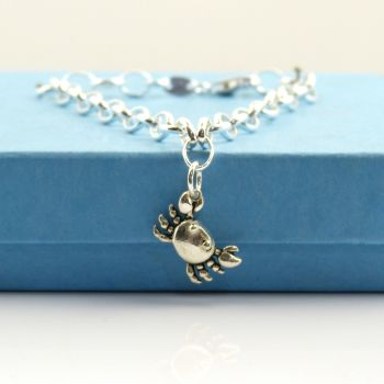 Sterling Silver Bracelet with Silver Crab Charm