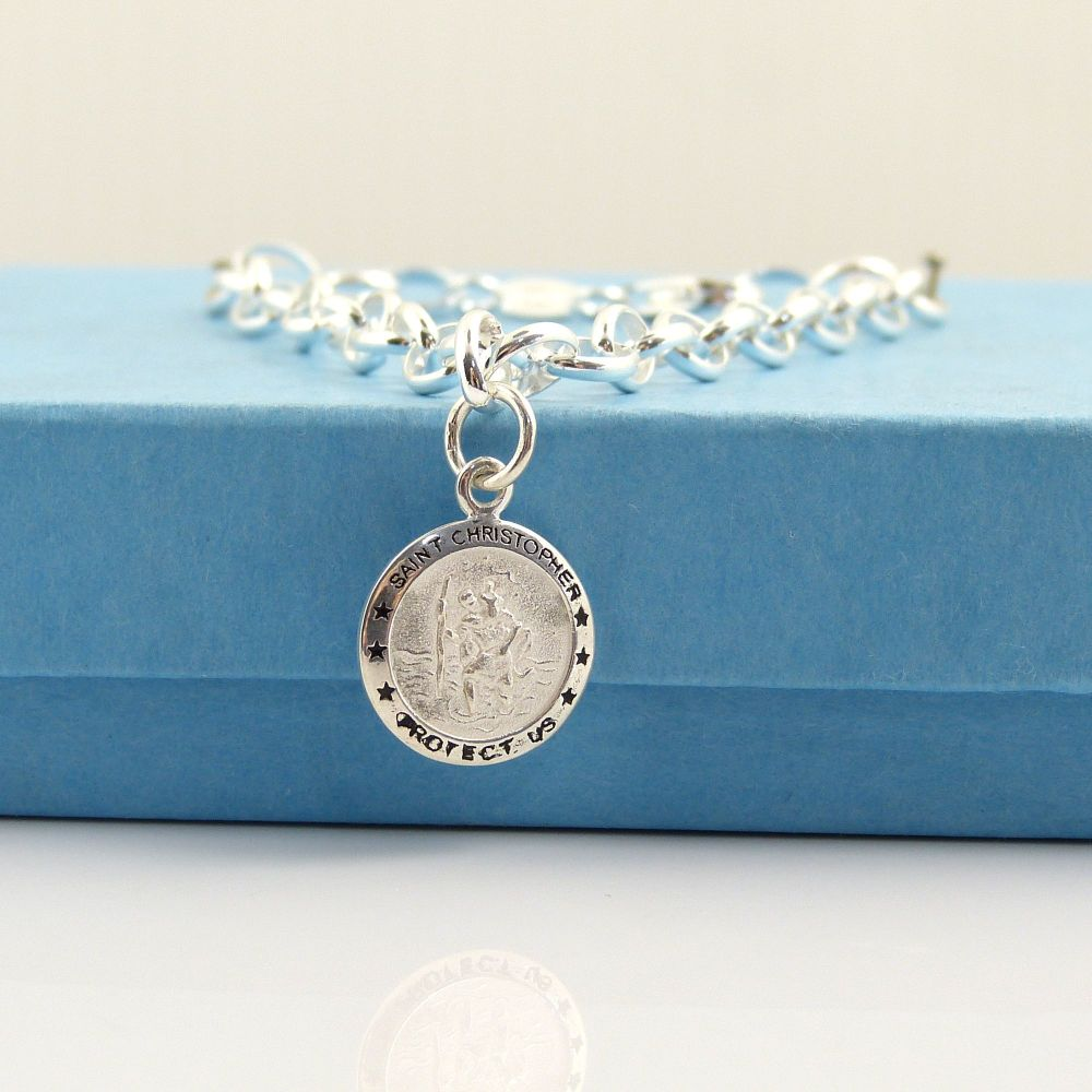 Sterling Silver Bracelet with Silver St. Christopher Charm