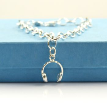 Sterling Silver Bracelet with Silver Headphones Charm
