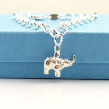 Sterling Silver Bracelet with Silver Elephant Charm