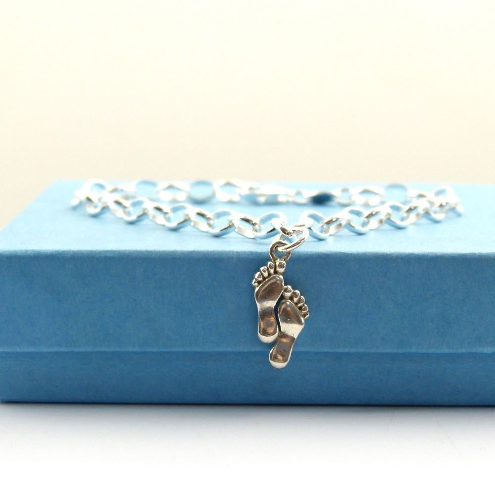 Sterling Silver Bracelet with Silver Footprints Charm, Footprints in the Sa
