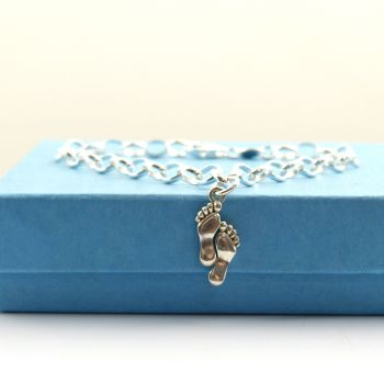 Sterling Silver Bracelet with Silver Footprints Charm, Footprints in the Sand