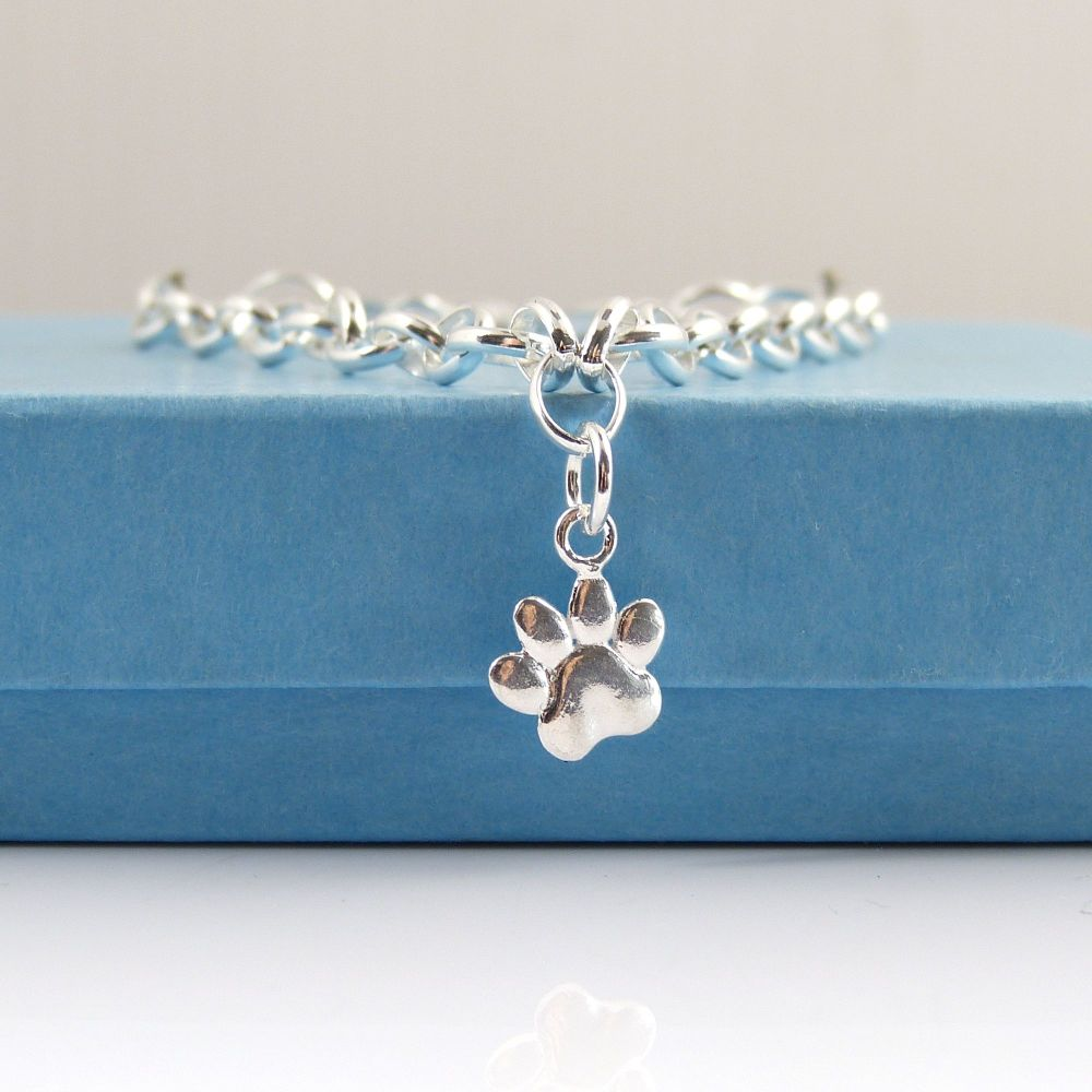 Sterling Silver Bracelet with Silver Paw Print Charm