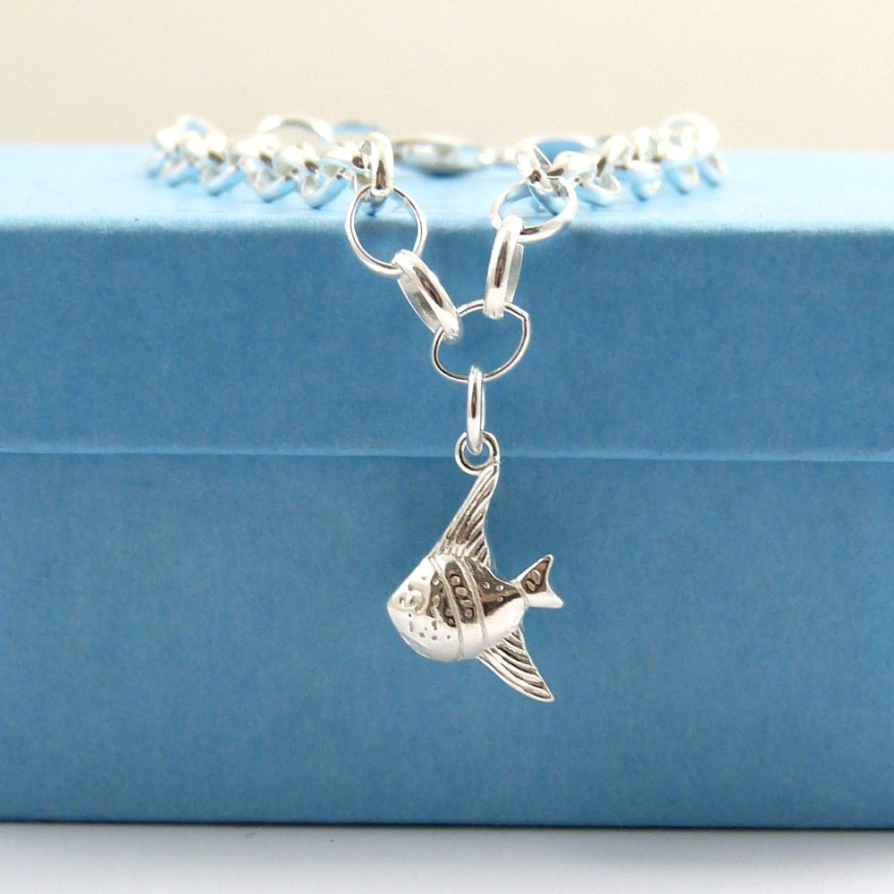 Sterling Silver Bracelet with Silver Angel Fish Charm