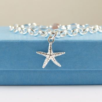 Sterling Silver Bracelet with Silver Starfish Charm