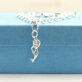 Sterling Silver Bracelet with Silver Mermaid Charm