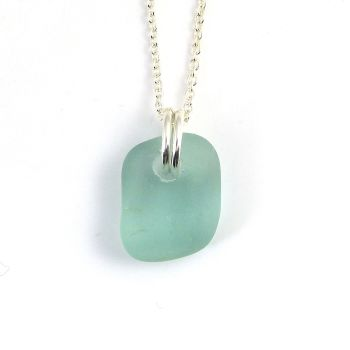 Aquamarine Sea Glass Sterling Silver Necklace