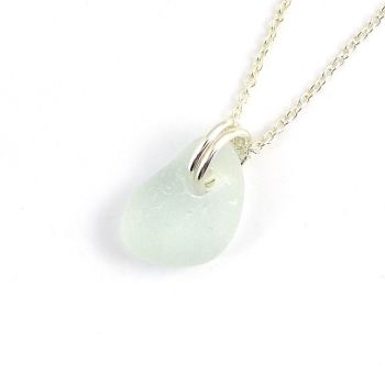 Seaspray Sea Glass and Sterling Silver Necklace