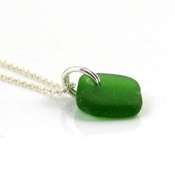 Emerald Green Sea Glass and Sterling Silver Necklace