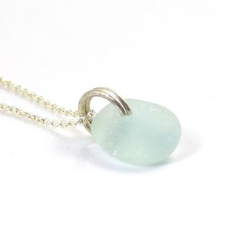 Tiny Pale Blue Sea Glass and Sterling Silver Necklace
