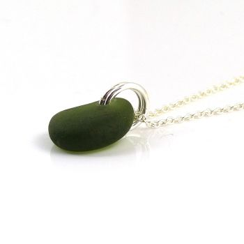 Tiny Forest Green Sea Glass and Sterling Silver Necklace