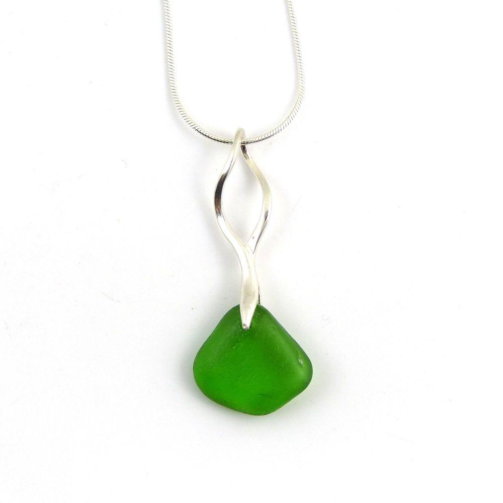 Emerald Green Sea Glass Necklace KIERRA