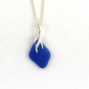 Sapphire Blue English Sea Glass Necklace ISABELLE