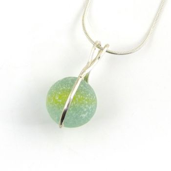 Seafoam Sea Glass Marble Necklace L157
