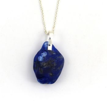 Cobalt Blue Bonfire Sea Glass Sterling Silver Necklace SIREN