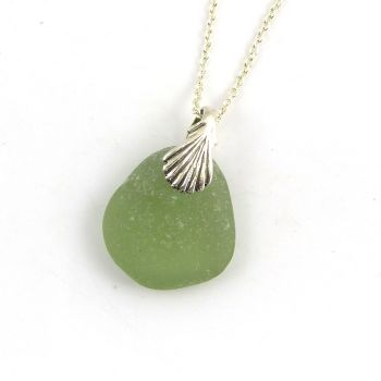 Sage Green Sea Glass Necklace SHANNON