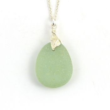 Pale Wintergreen Sea Glass And Silver Tendril Pendant Necklace - ESME