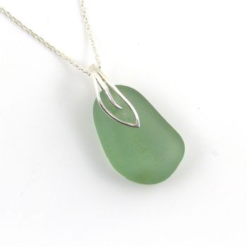 Deep Cucumber Green Sea Glass and Sterling Silver Necklace MAYA