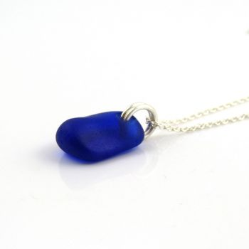 Cobalt Blue Sea Glass and Sterling Silver Necklace ANAIS